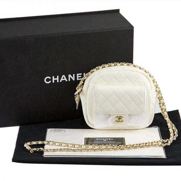 Chanel Women Vanity Case in Grained Calfskin Leather-White