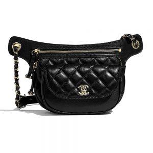 Chanel Women Waist Bag in Metallic Aged Calfskin-Black