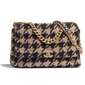 Chanel Women 19 Maxi Flap Bag-Black and Sandy