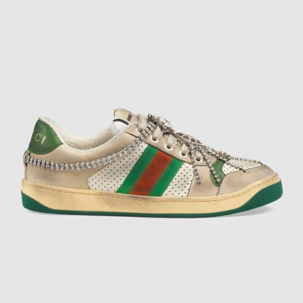 Gucci Women's Screener Sneaker with Crystals 3.6cm Height-Green
