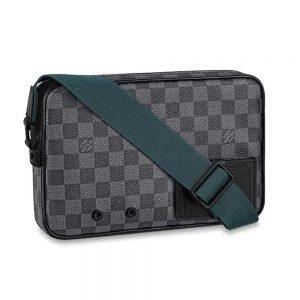 Louis Vuitton LV Men Alpha Messenger in Classic LV Damier Graphite Canvas-Grey