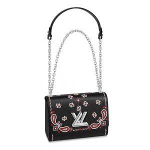 Louis Vuitton LV Women Twist MM Handbag in Epi Leather-Black