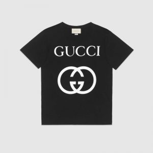 Gucci Men Oversize T-Shirt with Interlocking G-Black