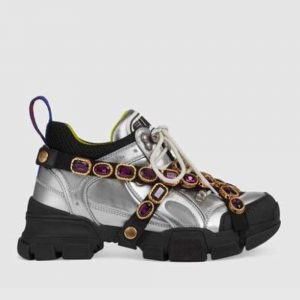 Gucci Women Flashtrek Sneaker with Removable Crystals 5.6cm Height-Silver