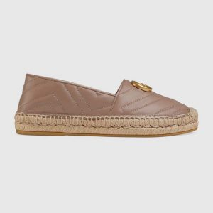 Gucci Women Leather Espadrille with Double G in Matelassé Chevron Leather-Sandy