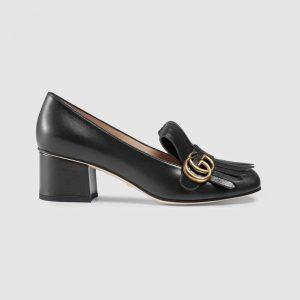 Gucci Women Leather Mid-Heel Pump 5.1 cm Heel-Black