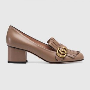 Gucci Women Leather Mid-Heel Pump with Fringe 5.1cm Heel-Brown