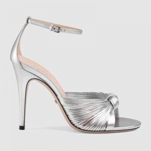 Gucci Women Metallic Leather Sandal in 10.4cm Heel Height-Silver
