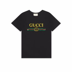Gucci Women Oversize T-Shirt with Sequin Gucci Logo-Black