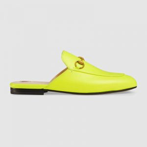 Gucci Women Princetown Leather Slipper with Horsebit Detail-Yellow