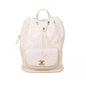 Chanel Women Backpack in Embossed Diamond Pattern Calfskin Leather-White