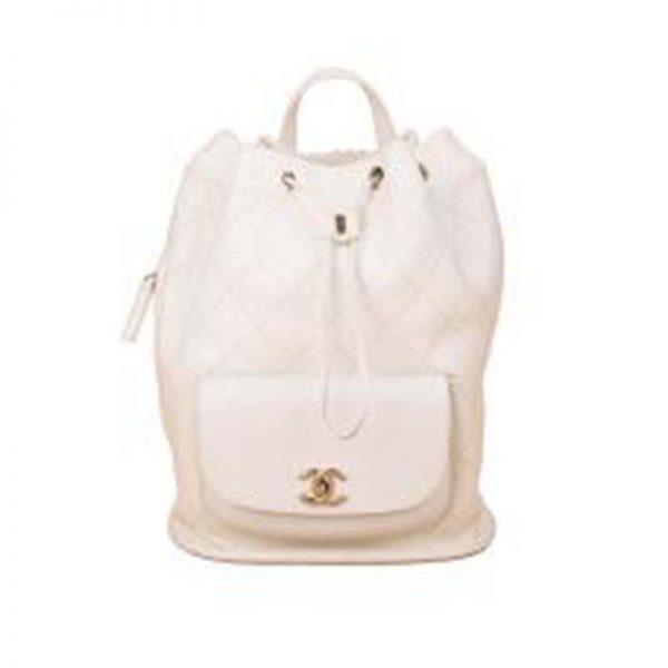 Chanel Women Backpack in Embossed Diamond Pattern Calfskin Leather-White