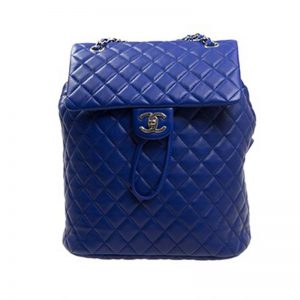 Chanel Women Backpack in Embossed Diamond Pattern Goatskin Leather-Purple