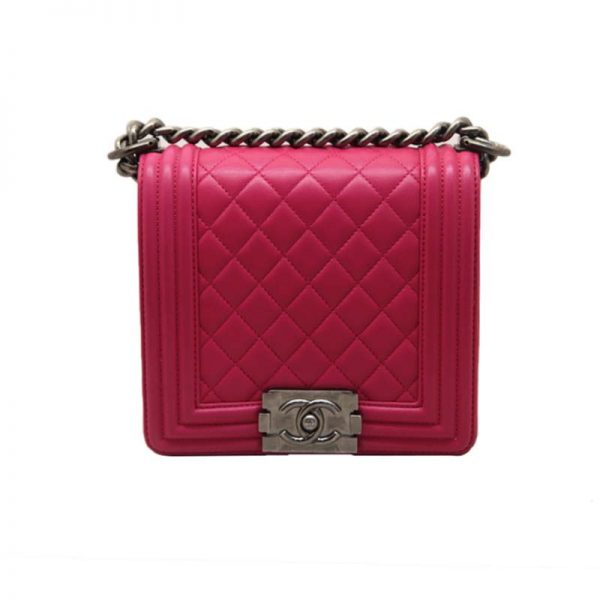 Chanel Women Boy Chanel Handbag in Smooth Calfskin Leather-Rose