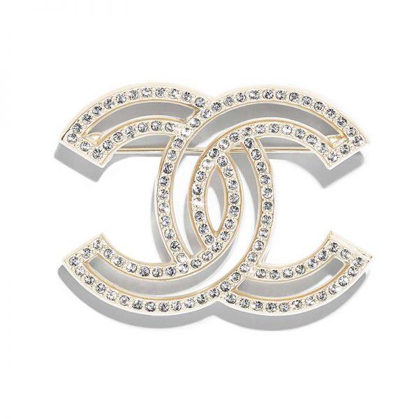 Chanel Women Brooch in Metal & Diamantés-Gold