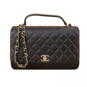 Chanel Women Kelly Flap Bag in Goatskin Leather with Top Handle-Black