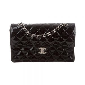 Chanel Women CF Flap Bag in Diamond Pattern Patent Calfskin Leather-Black