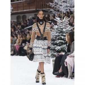 Chanel Women Cashmere & Wool Ecru Turquoise & Camel Dress-Sandy