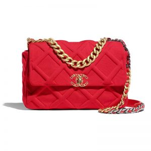 Chanel Women Chanel 19 Large Flap Bag in Tweed Fabrics-Red
