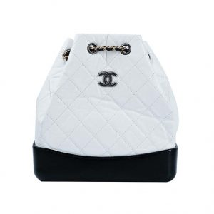 Chanel Women Chanel's Gabrielle 17 Small Hobo Bag in Calfskin Leather-Black and White