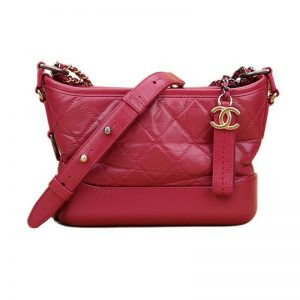 Chanel Women Chanel's Gabrielle Small Hobo Bag in Calfskin Leather-Red
