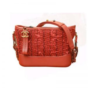 Chanel Women Chanel's Gabrielle Small Hobo Bag in Calfskin Tweed Fabrics-Red