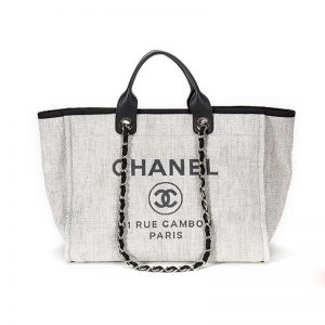 Chanel Women Deanville Shopping Bag Mummy Bag in Canvas and Leather-Grey