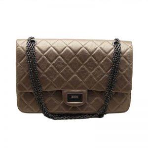 Chanel Women Flap Bag in Aged Metal Diamond Pattern Calfskin Leather-Gold