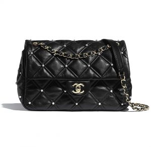 Chanel Women Flap Bag in Lambskin Leather and Imitation Pearls-Black
