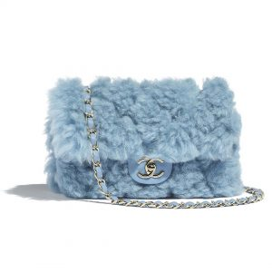 Chanel Women Flap Bag in Shearling Lambskin Leather-Blue