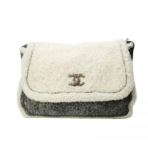 Chanel Women Flap Bag in Shearling Sheepskin Leather-White and Grey