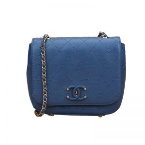Chanel Women Flap Bag in Smooth Diamond Pattern Calfskin Leather-Blue