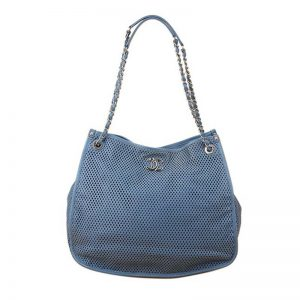 Chanel Women Hollow Out Shopping Bag with Chain in Calfskin Leather-Blue