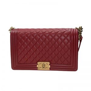 Chanel Women Large Leboy Flap Bag with Chain in Goatskin Leather-Maroon