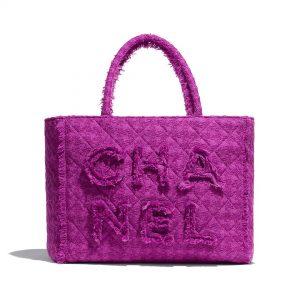 Chanel Women Large Zipped Tote Bag in Wool Tweed Fabrics-Purple