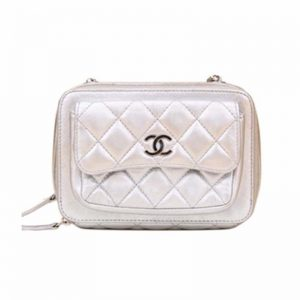 Chanel Women Messenger Bag with Chain in Calfskin Leather-Silver