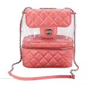 Chanel Women Ringer PVC Shoulder Bag in Aged Calfskin Leather-Pink