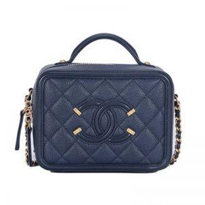 Chanel Women Vanity Case in Grained Calfskin Leather-Blue