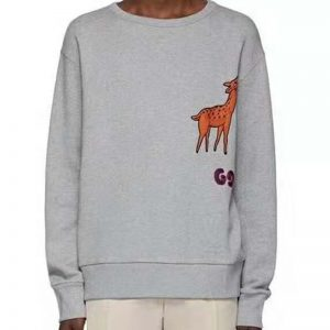 Gucci Men Hooded Sweatshirt with Deer Patch in 100% Cotton-Grey