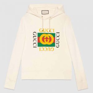 Gucci Men Oversize Sweatshirt with Gucci Logo in 100% Cotton-White