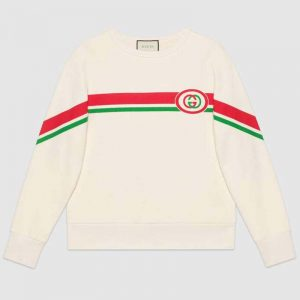 Gucci Men Sweatshirt with Interlocking G Print in 100% Cotton-White