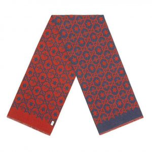 Gucci Unisex Bees And Stars GG Jacquard Scarf in Wool and Silk