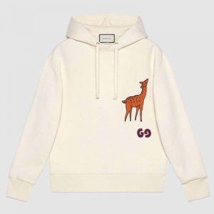 Gucci Unisex Hooded Sweatshirt with Deer Patch in 100% Cotton-White