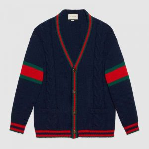 Gucci Women Oversize Cable Knit Cardigan Sweater-Navy
