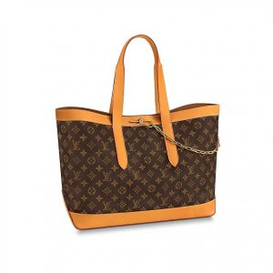 Louis Vuitton LV Men Cabas Voyage in Iconic Monogram Canvas and Natural Leather-Brown