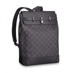 Louis Vuitton LV Men Steamer Backpack in Monogram Eclipse Canvas-Grey