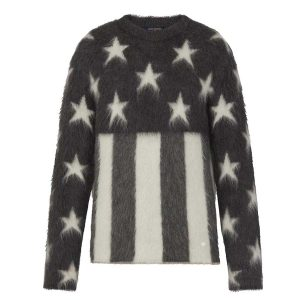 Louis Vuitton LV Men USA Flag Mohair Jacquard Crewneck Sweater-Grey