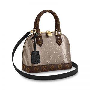 Louis Vuitton LV Women Alma BB Handbag in Metallic Monogram Vernis Patent Leather-Silver