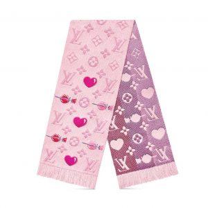 Louis Vuitton LV Women Logomania A La Folie Scarf with Silk Wool-Pink