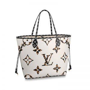 Louis Vuitton LV Women Neverfull MM Tote Bag in Monogram Canvas-White